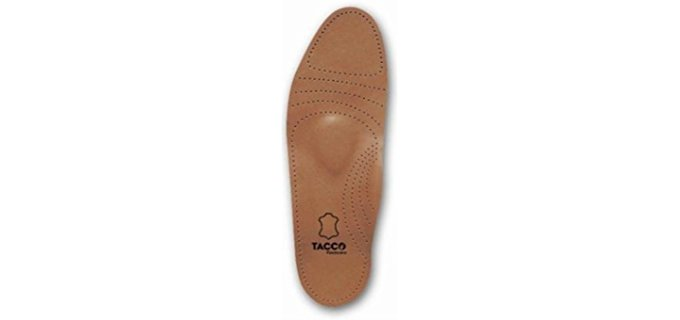 Tacco Unisex Full Length Leather Insoles - Contoured Leather Orthotic Shoe Insoles