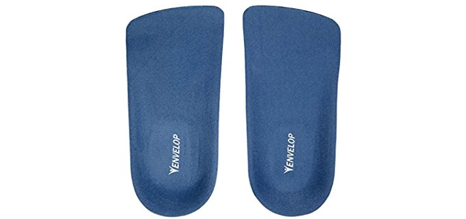 Envelop Unisex Raised Heel Insoles - 3/4 Shoe Inserts for Heel Pain Alleviation