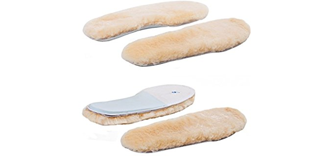 ABUSA Women's Thick Fluffy Sheepskin Insoles - Wool Fleece Insoles for Cold Feet