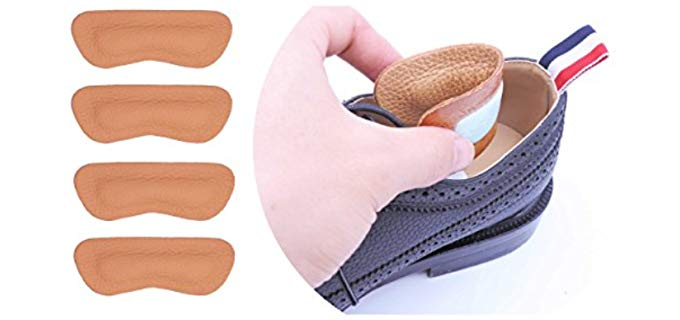 Sufoot Unisex Heel Grips - Leather Blister Prevention Heel Insoles