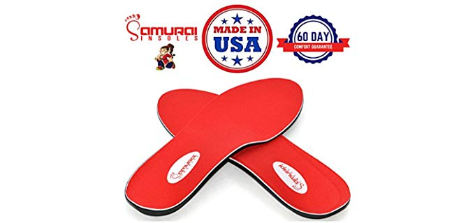 Samurai Insoles Unisex Flat Feet Insoles - Plantar Fasciitis Insoles for Flat Feet